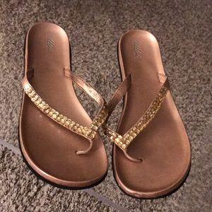 Rose gold flip flop